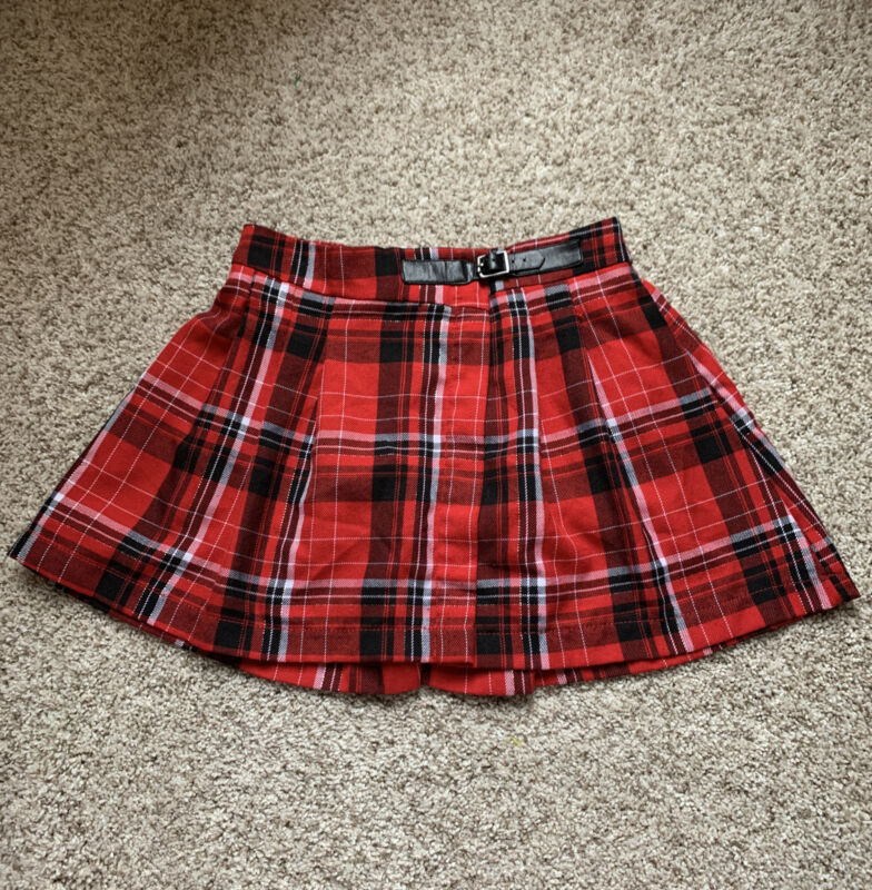 Justice Girl's Holiday/Dressy Plaid Skirt Size 10 Shorts Underneath