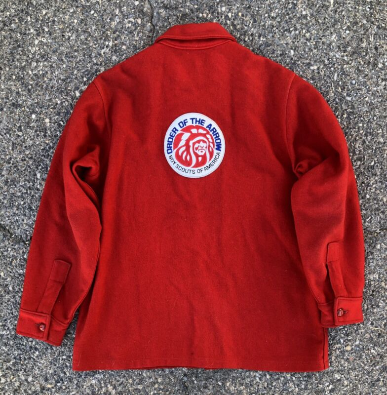 Vintage 60s Boy Scouts Of America Red Wool Hunting Shirt Jacket Bull Chief Patch