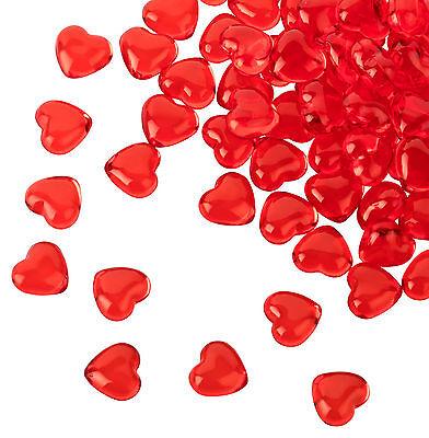 100 rote Acryl Herzen Streudeko für Hochzeiten Tischdekoration oder zum Basteln