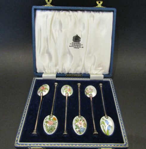 Set of 6 Boxed Vintage Mappin & Webb Ltd. Sterling Enamel Demi-tasse Spoons