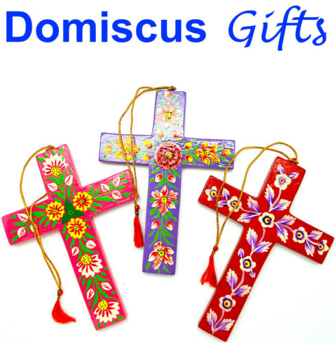 """6"""" NEW! HAND-PAINTED Imported Wood Wall CROSS Religious Christian Home DECOR"""