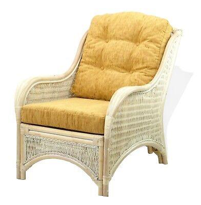 Lounge  Armchair Jam Handmade Natural Rattan Wicker w/Light Brown Cushions,Cream ()