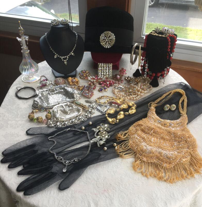 Sensational ANTIQUE VICTORIAN DECO Vtg Jewelry High end Rhinestone Accessories