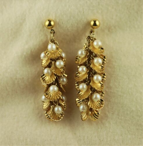 Dangling Cascading Gold Tone Shell Clusters w/ Faux Pearl Pierced Earrings