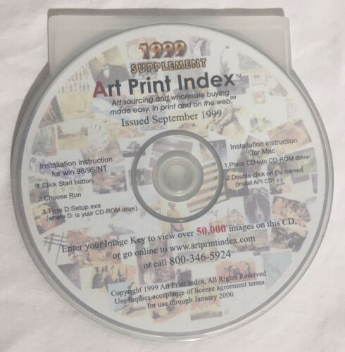 Vintage 1999 Supplement ART PRINT INDEX Windows 95 98 NT Software CD-ROM