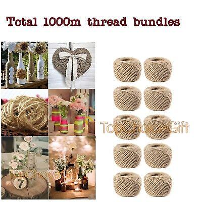 (3 Ply 1000m Natural Brown Jute Thread Rustic String Hemp Rope Cord Garden )
