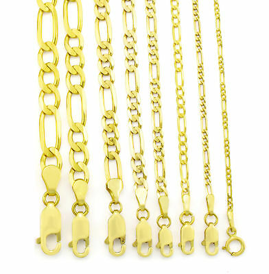 Genuine 10K Real Yellow Gold 2mm-9mm Figaro Link Chain Pendant Necklace 16