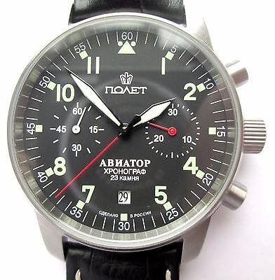 POLJOT AVIATOR Watch Russian Chronograph   caliber 3133 , HIRSCH  leather strap