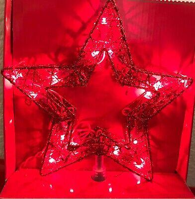 Christmas Tree Topper Red Glitter Star Red Lights Tree Topper