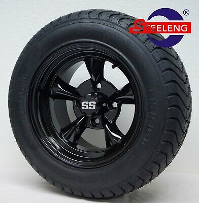"""GOLF CART 12"""" BLACK GODFATHER WHEELS and 215/50-12 COMFORT RIDE DOT TIRES(4)"""