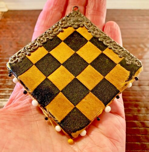 Antique Chatelaine Pin Cushion ~ Unger Bro Sterling Silver & Checkerboard Silk