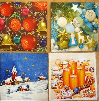 4 sets paper napkins Christmas tree ornaments,bell serviette,33cm-2pcs,decoupage ()