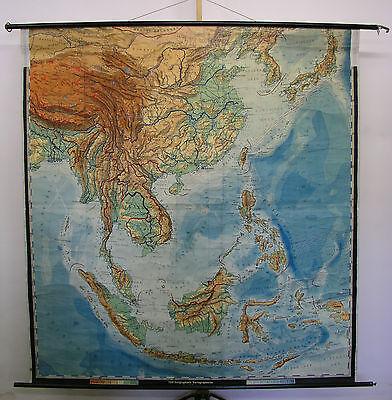 Schulwandkarte Kaffee Indonesien Vietnam Thailand Korea Borneo Java 1953 192x205 (Karte Indonesien)