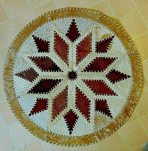 Southwestern COWHIDE ACCENT Rug DIAMOND Design 4x4 ft Round Brown, Beige, White