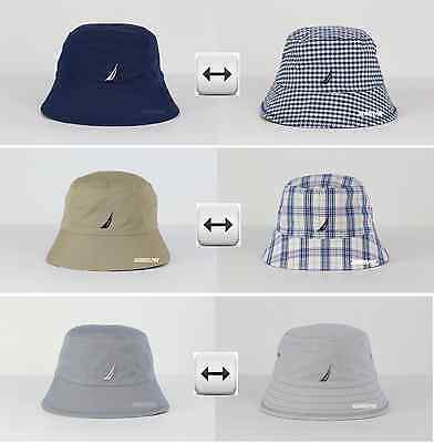 NWT NAUTICA MEN & WOMEN LOGO BUCKET HAT CAP REVERSIBLE 100%COTTON SiZE S/M, L/XL