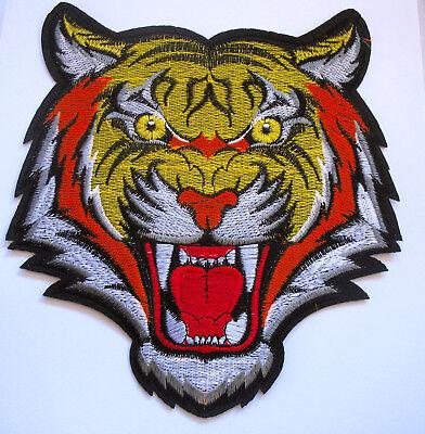 Tiger Aufnäher Stickerei Aufbügler Tigerkopf Abzeichen Bügelbild Kleidung Patch