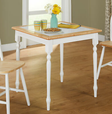 Casual Solid Wood Dining Table Square Tile-Top Compact Traditional Style White