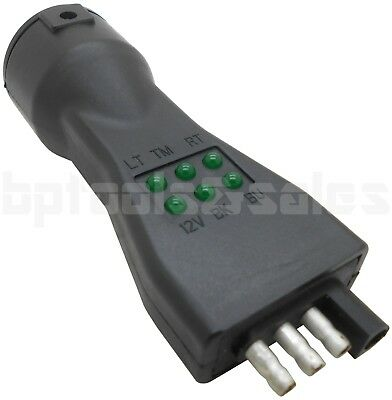 Truck Trailer 7 Blade 4 Pin Vehicle Plug Tester Wire Light Brake Towing Fuse -