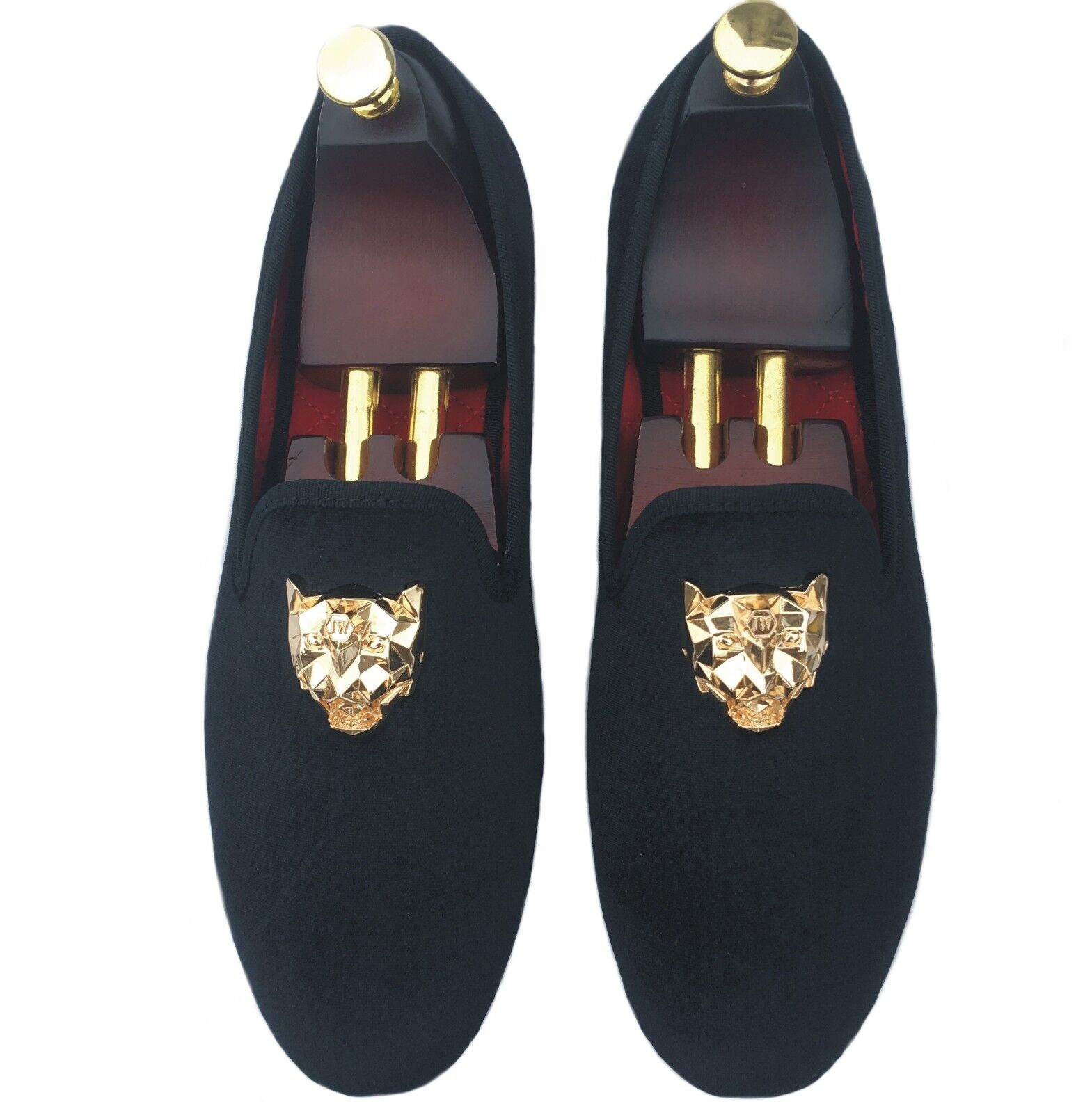 Men's Black Velvet Loafers Slip-on Dress Shoes with Gold Buckle Slippers Flats