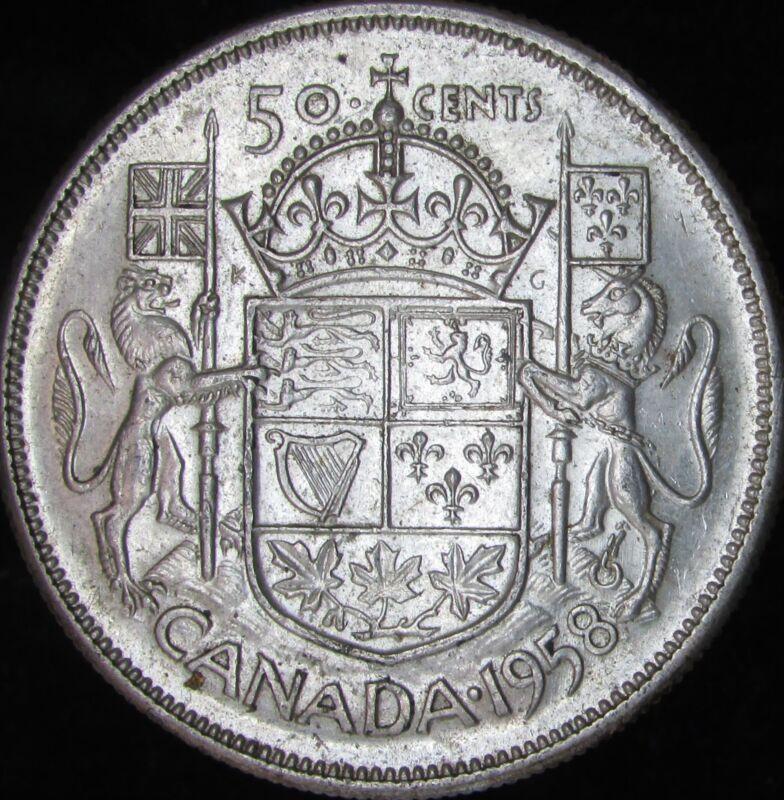 1958 AU Canada Silver 50 Cents (Fifty, Half) - KM# 53 - JG