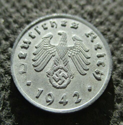 OLD COIN THIRD REICH GERMANY 1 RP 1942 A EAGLE WITH SWASTIKA WORLD WAR II