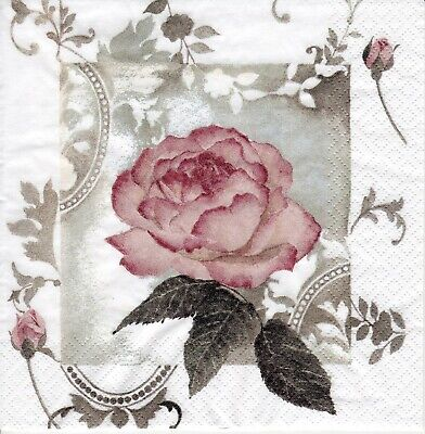 4x Designer PAPER NAPKINS for Decoupage ENCHANTING ROSE VINTAGE FLORAL v