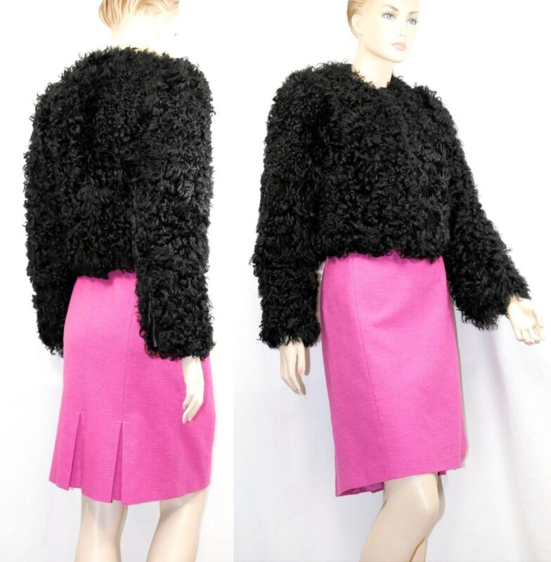 $5,500 Burberry Prorsum 6 8 40 Black Collarless Lamb Fur Coat Women Mother Gift