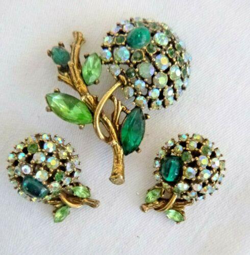 Signed ART Vintage Brooch Pin Clip Earrings Set Dazzling Rhinestone Flowers