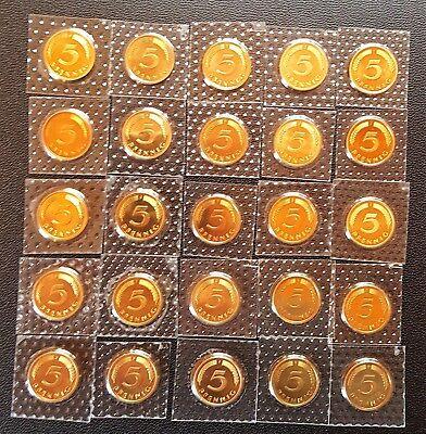5 Pfennig 1997-2001 A-D-F-G-J komplett Stempelglanz 25 Münzen Seltene Jahrgänge