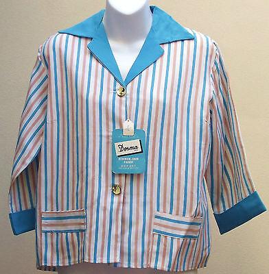 Vintage 1950s summer jacket UNUSED ladies striped blazer DORMA fabric DEV ROU