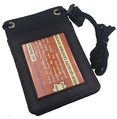 - Leather Neck Lanyard ID Badge Holder Pouch Mini Cross Body Cell holder Black 068