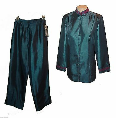New 2-PC Suit: Pants & Blazer / Top, Mlle Gabrielle, Taffeta Embroidery  14