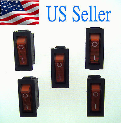 5x Ac250v15a 125v20a Red Light Illuminated Onoff 2position Rocker Switch 3 Pin