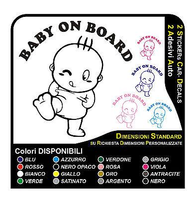 bambino a bordo 2 adesivi auto per vetro e baule nuovi divertenti Baby on board
