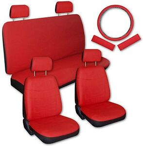 Solid Red Faux Leather Next Generation Car Seat Covers Amp