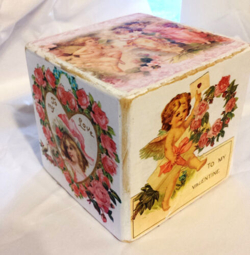 Primitive Valentines Wooden Block 4X4 6 Sided Pink Roses Shabby Chic Cupids