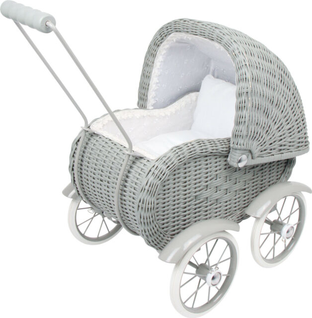 Baby-carriage Wicker Nostalgie Metal frame in grey ca. 51 x 33 x 55 cm new
