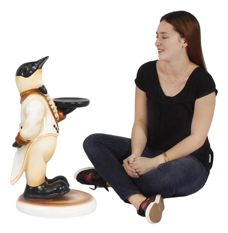 """Penguin Butler Statue in Tuxedo Holding Tray 26"""" Waiter Statue"""