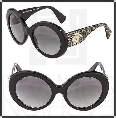 a19870384 VERSACE Sunglasses VE 4298 Black Gold Glitter Oversized Round Gradient Women