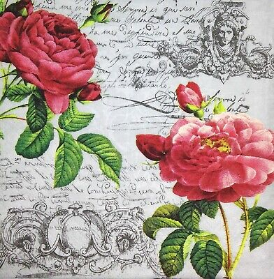 3 x Single Paper Napkins For Decoupage Craft Red Pink Roses Flowers Script M366