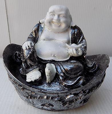 Small Buddha Chinese Silver Cm10x7 White Resin Indonesian Shiva Divinity