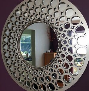 metallic silver round mirror large circle art deco 63cm bathroom beehive lounge