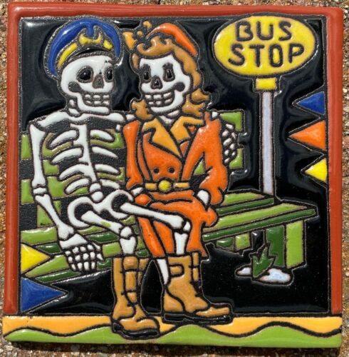 """Talavera tile clay pottery 4"""" hi relief Day of the Dead soldier wife bus stop"""