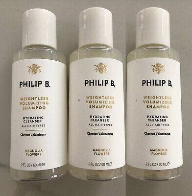 PHILIP B weightless volumizing shampoo magnolia flowers 2oz X 3 SEALED= 6 oz new