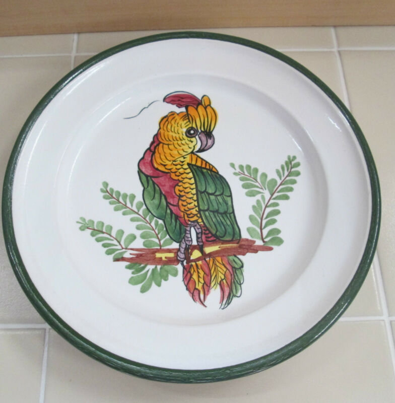 "Italy Pottery Italian 9"" Plate Colorful Parrot Cockatoo Bird Hand Painted Rare"