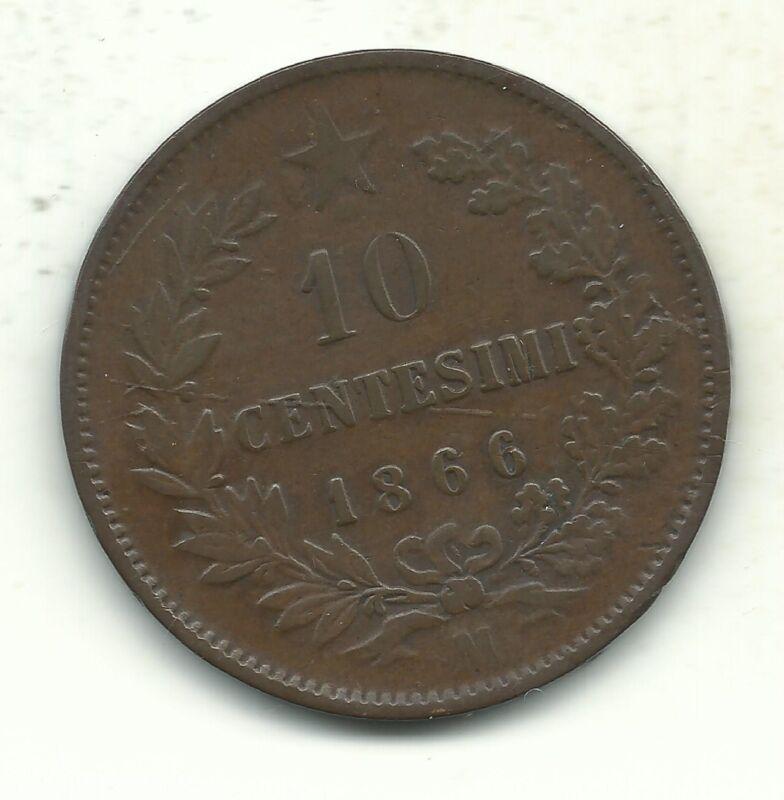 A VERY NICE VINTAGE BETTER GRADE 1866 M 10 CENTESIMI ITALY COIN-JUN077