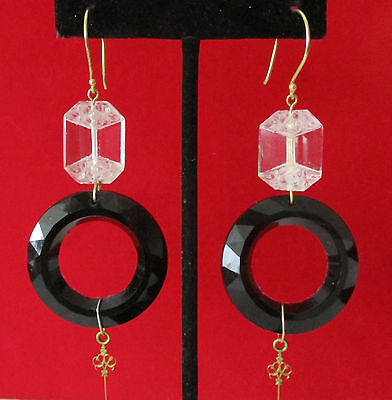 Pair of 3 1/2-Inch Deco Crystal & French Jet Earrings With Brass Trim