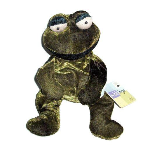 """10"""" Russ Berrie Wishlings Pistachio Green Velvet Frog Bean Bag Stuffed Animal"""