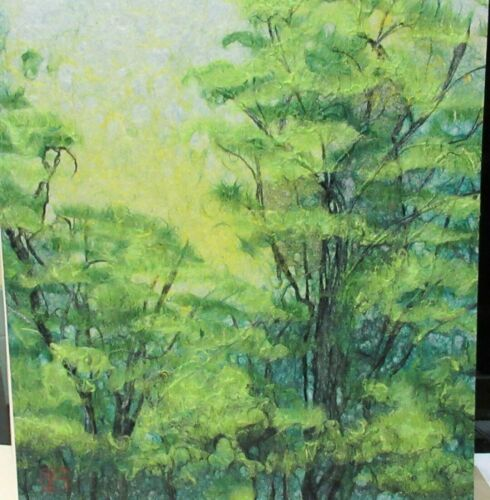OBARA-WASHI ORIGINAL JAPANESE TREE LANDSCAPE PAPER ART PAINTING SIGNED