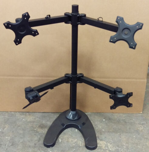 Quad Monitor Table Stand Black